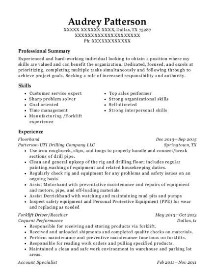 View Resume  Forklift Driver Resume