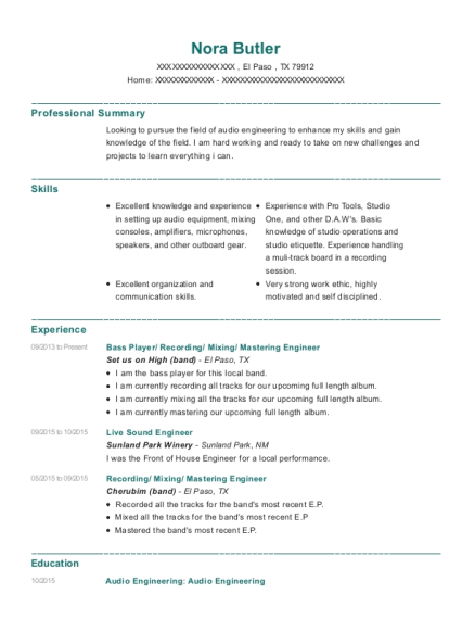 sound engineer resume samples - Ecza.solinf.co