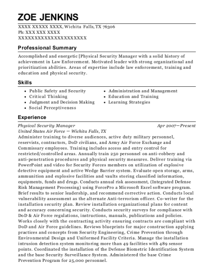 best physical security manager resumes resumehelp