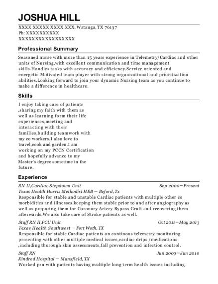 Joshua Hill  Med Surg Resume