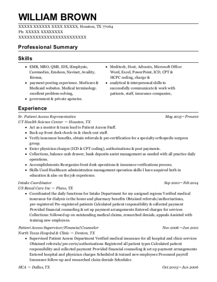 ut health science center sr patient access representative resume