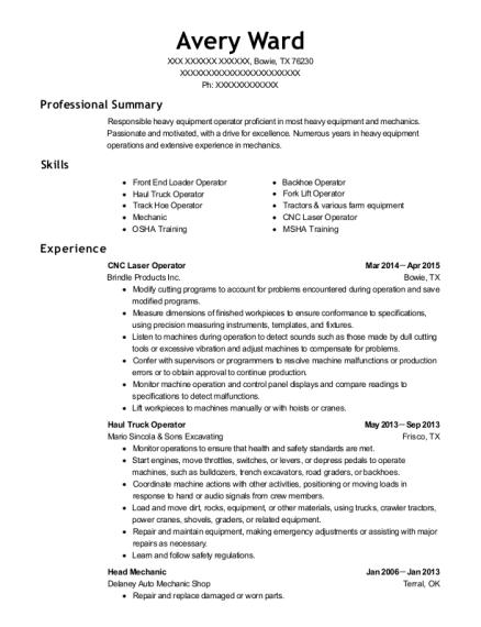view resume cnc laser operator - Cnc Laser Operator Sample Resume