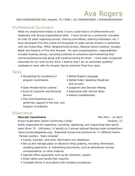 evelyn rubenstein jewish community center maccabi coordinator resume