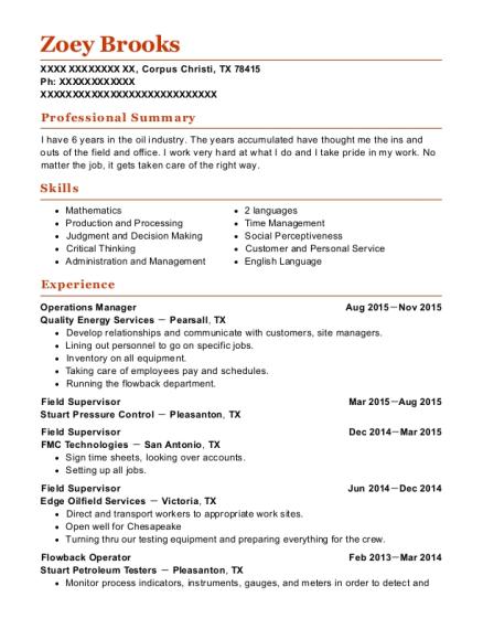 Best Flowback Operator Resumes | ResumeHelp