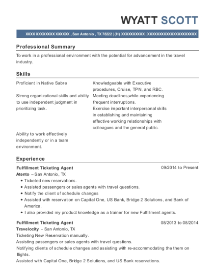 View Resume. Fulfillment Ticketing Agent