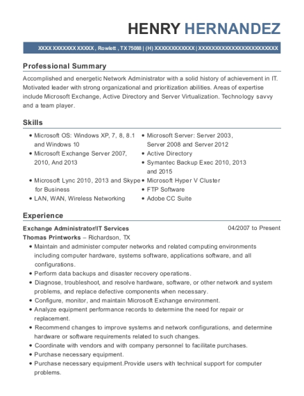 View Resume Exchange Administrator