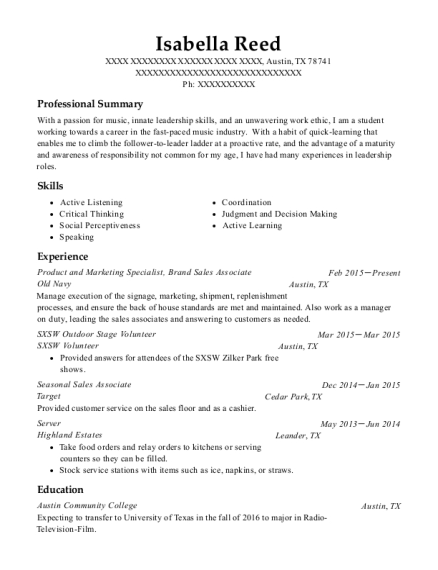 Old Navy Product And Marketing Specialist Resume Sample Austin