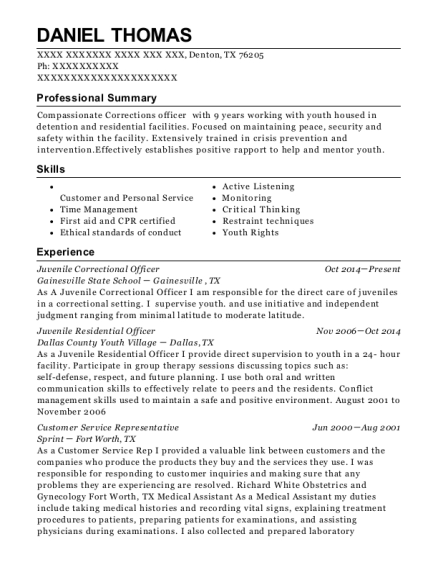 View Resume. Juvenile Correctional Officer