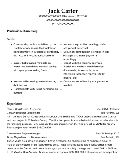 Exceptional View Resume. Senior Construction Inspector  Construction Inspector Resume