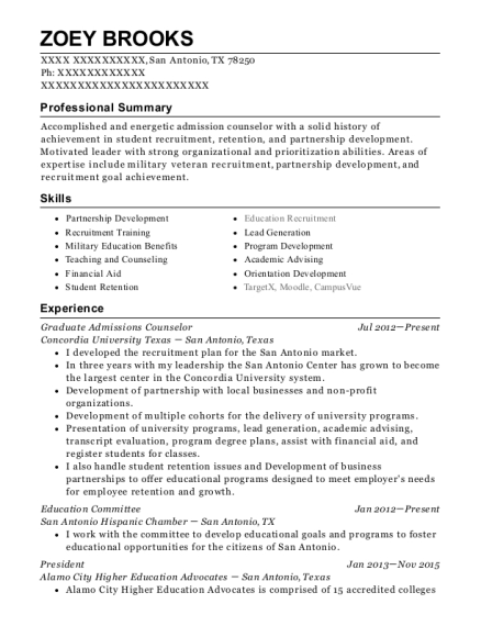 View Resume. Graduate Admissions Counselor