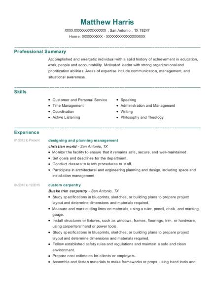 Christian World Designing And Planning Management Resume Sample ...