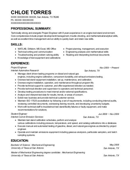 Nice San Antonio Mechanical Engineering Resume Ornament - Resume ...