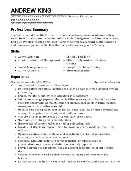 best service canada benefits officer resumes resumehelp