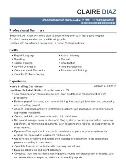 Best Nurse Staffing Coordinator Resumes   ResumeHelp