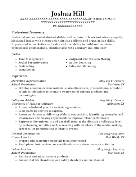 view resume - Student Athlete Resume