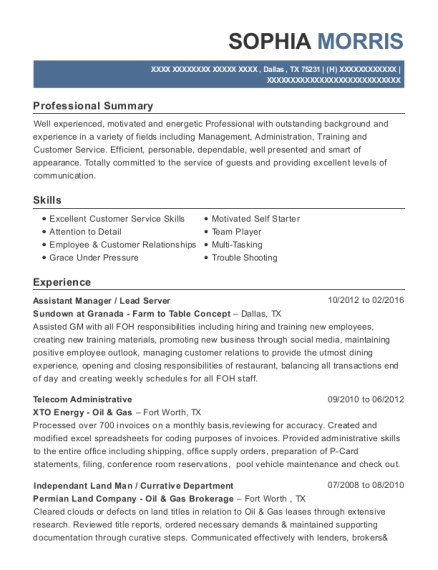 Xto Energy Telecom Administrative Resume Sample - Dallas Texas ...