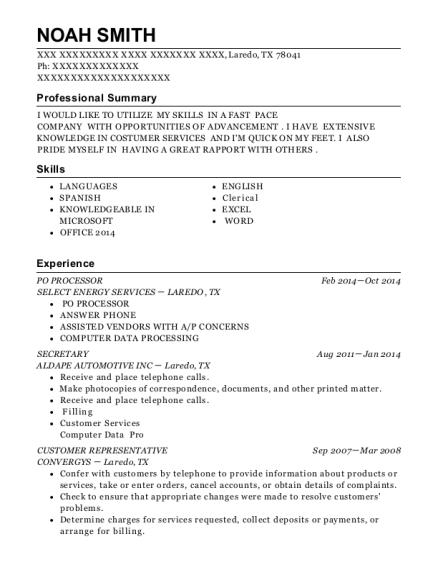 Best Po Processor Resumes | ResumeHelp
