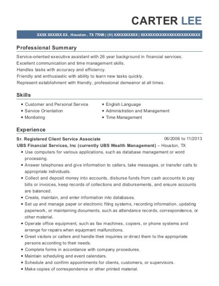 ubs financial services registered client service associate resume sample