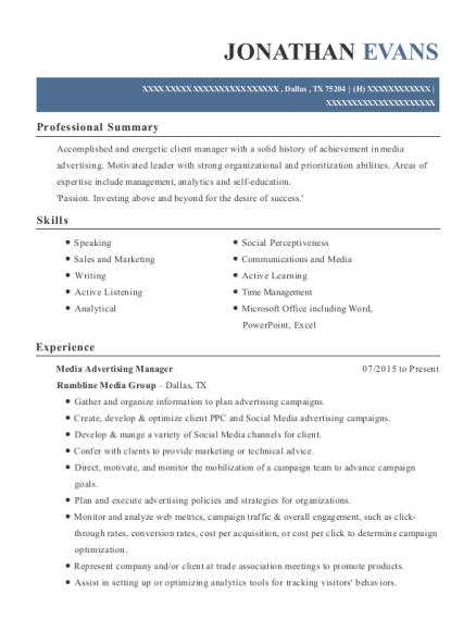 advertising manager resume