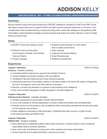 Centerra Linguist / Interpreter Resume Sample - Allen Texas