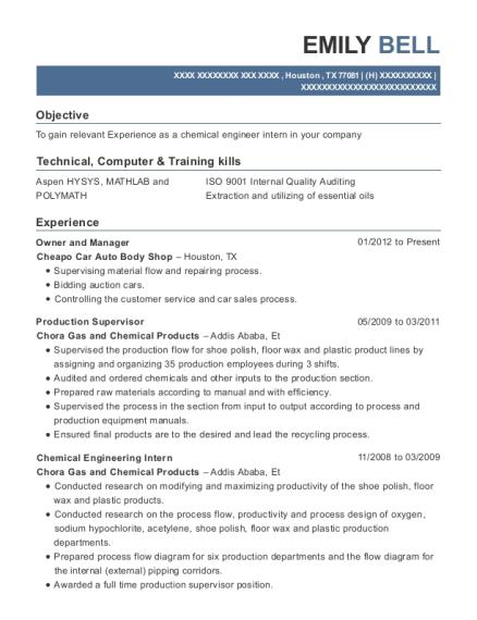 Best Chemical Engineering Intern Resumes | ResumeHelp