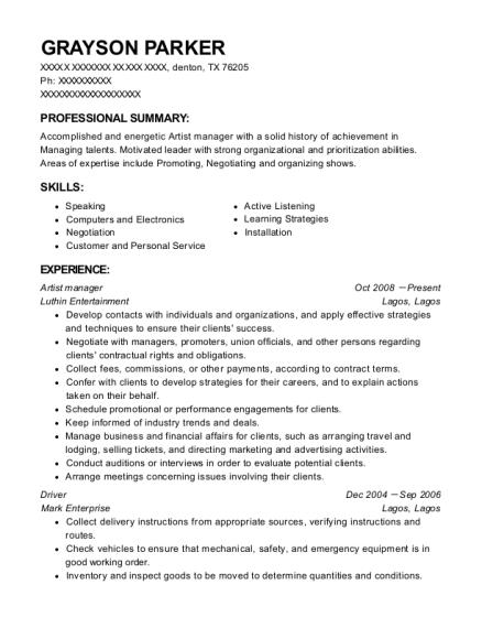Best Artist Manager Resumes | ResumeHelp