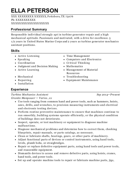 View Resume. Turbine Mechanics Assistant