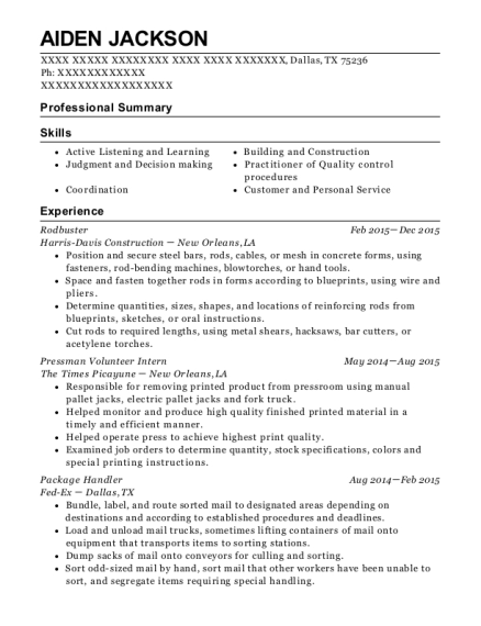 harris-davis construction rodbuster resume sample