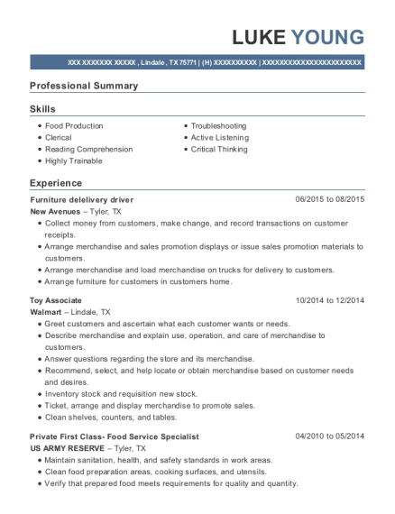 View Resume. Furniture Delelivery Driver