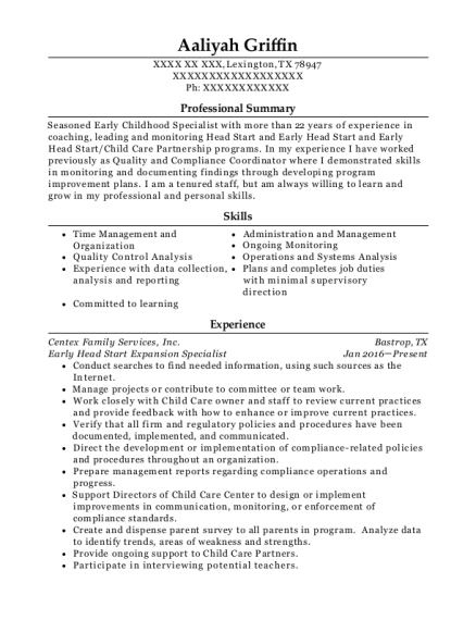 early childhood education specialist customize resume view resume