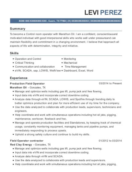 Best Production Field Operator Resumes | ResumeHelp