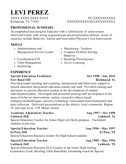Best Special Education Facilitator Resumes Resumehelp