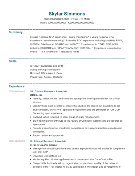principal clinical research associateclinical monitor customize resume view resume