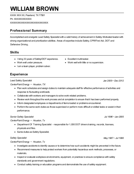 Centerpoint Energy Lead Safety Specialist Resume Sample - Pearland ...