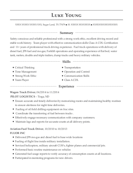 View Resume. Wagon Truck Driver