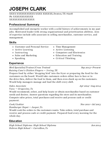 Raising Canes Chicken Fingers Bird Specialist Resume Sample - Denton ...