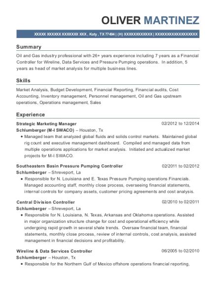 Schlumberger M I Swaco Strategic Marketing Manager Resume Sample ...