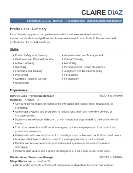 Abercrombie & Fitch District Asset Protection Manager Resume Sample ...