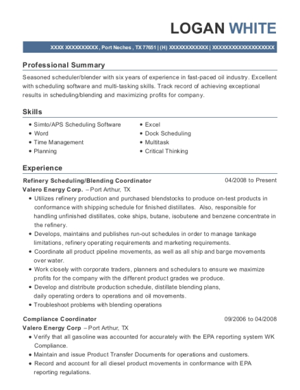 Valero Energy Corp Refinery Scheduling Resume Sample - Port Neches ...