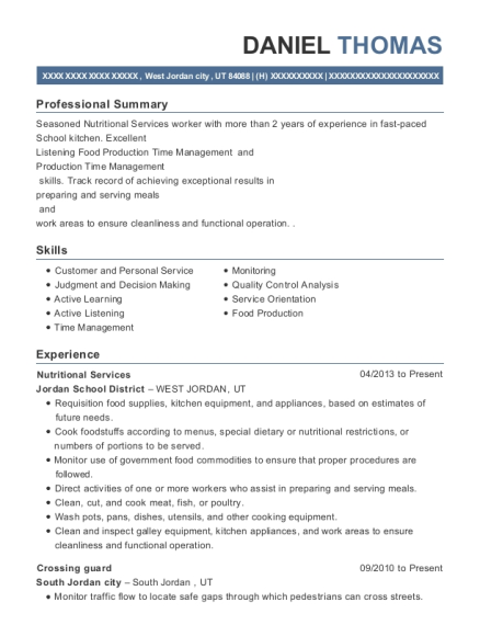 View Resume Nutritional Services