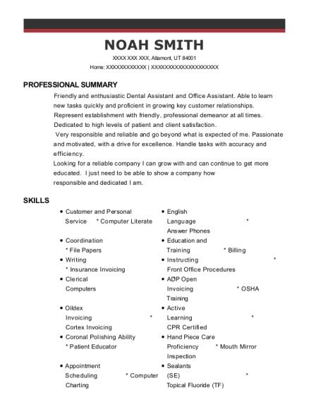 Best Dental Assistant Resumes In Utah ResumeHelp - Open invoice oildex