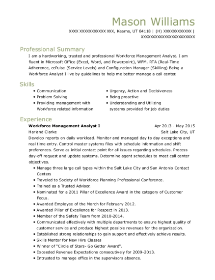 mason williams - Workforce Management Analyst Sample Resume