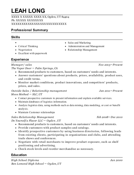 View Resume. Manager/ Sales