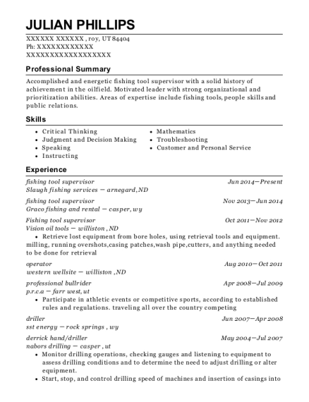Julian Phillips  Fishing Resume