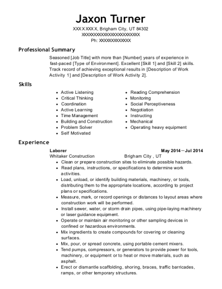 jaxon turner heavy equipment operator resume