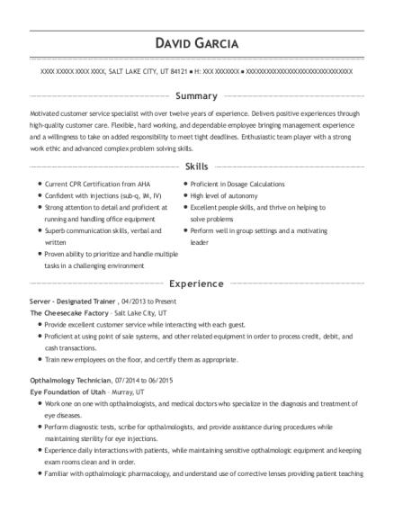 The Cheesecake Factory Server Designated Trainer Resume Sample ...