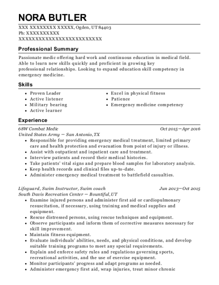 us army 68w combat medic resume sample