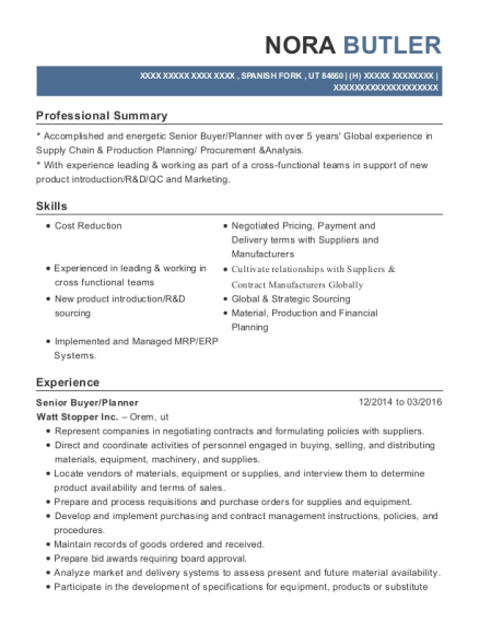 Production Planning Manager Resume