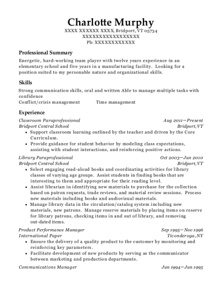Bridport Central School Classroom Paraprofessional Resume Sample