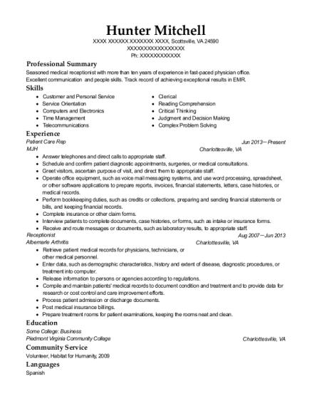 mjh patient care rep resume sample scottsville virginia resumehelp